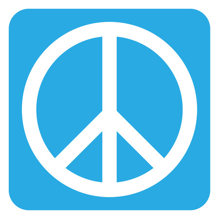 peace treaty: Peace symbol button on white background. Vector illustration.