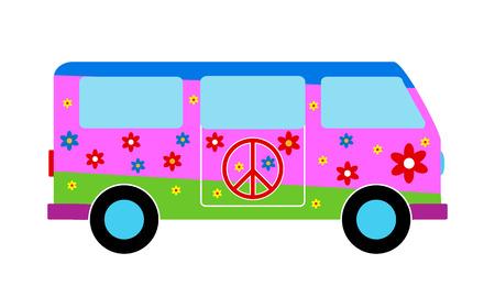 Hippie minibus icon on white background. Vector illustration. Vector