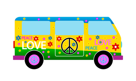 Hippie minibus icon on white background. Vector illustration. Vector