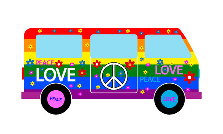 Hippie minibus pictogram op een witte achtergrond. Vector illustratie. Stock Illustratie