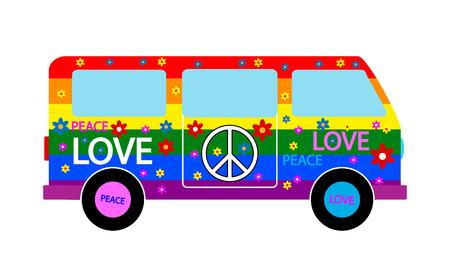 Icono minibús Hippie en el fondo blanco. Ilustración del vector. Ilustración de vector