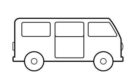 family van: Minibus icon on white background. Vector illustration. Illustration