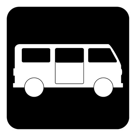 Minibus button on white background. Vector illustration. Vector