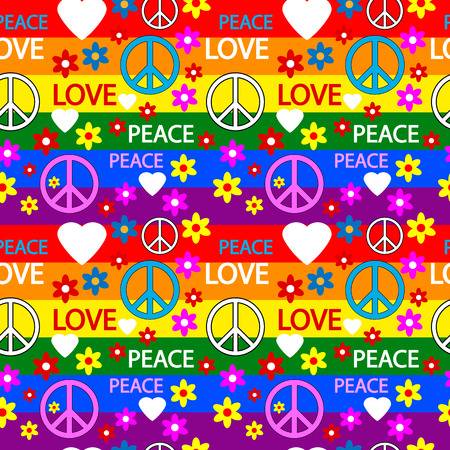 Seamless pattern with symbols of the hippie. Vector illustration. 向量圖像