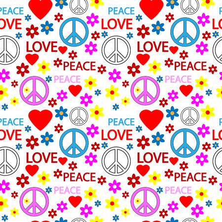 peace treaty: Seamless pattern with symbols of the hippie. Vector illustration. Illustration