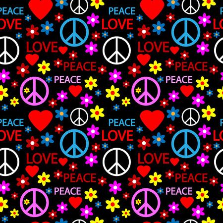 Naadloze patroon met symbolen van de hippie. Vector illustratie. Stock Illustratie