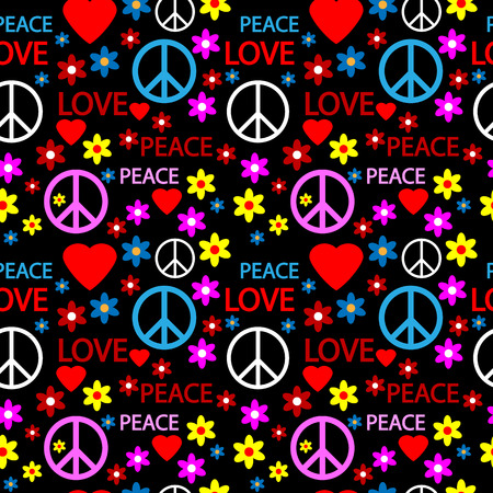 Seamless pattern with symbols of the hippie. Vector illustration. Vector