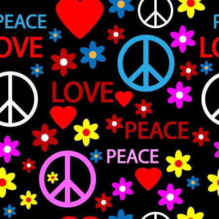 simbolo della pace: Seamless pattern con i simboli del hippie. Illustrazione vettoriale. Vettoriali