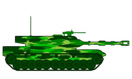 wartime: Modern heavy tank on white background. Vector illustration.