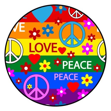 reconciliation: Button with symbols of the hippie  Vector illustration