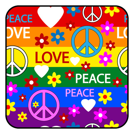 Button with symbols of the hippie  Vector illustration
