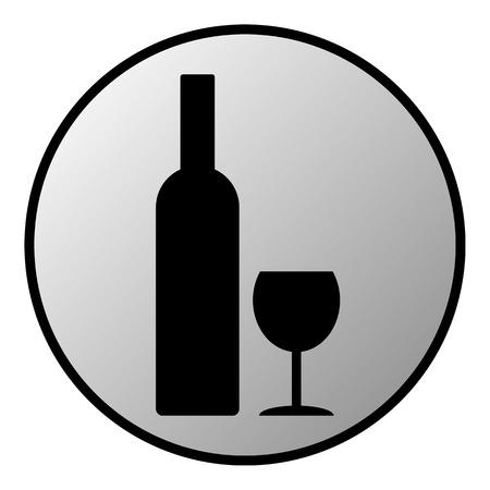glasse: Bottle and glasse button on white background  Vector illustration