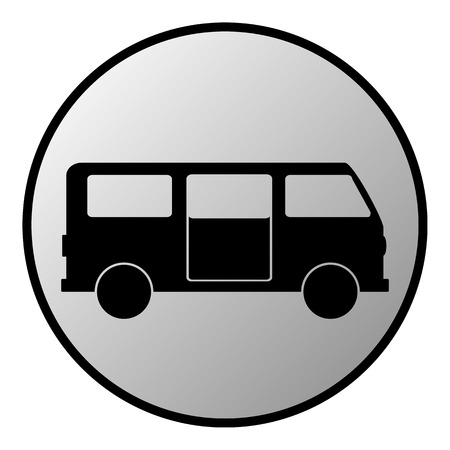 Minibus button on white background  Vector illustration  Vector