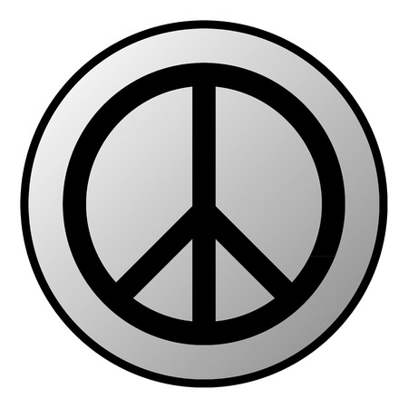 peacemaker: Peace symbol button on white background  Vector illustration