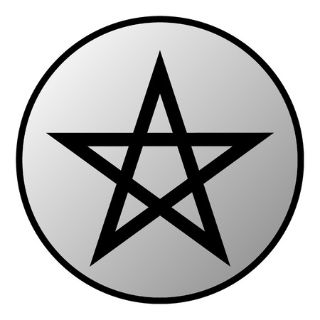 lucifer: Pentagram button on white background  Vector illustration