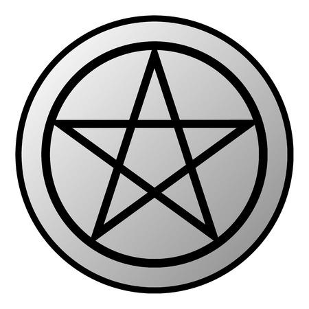 Pentagram button on white background. Vector illustration. Illustration
