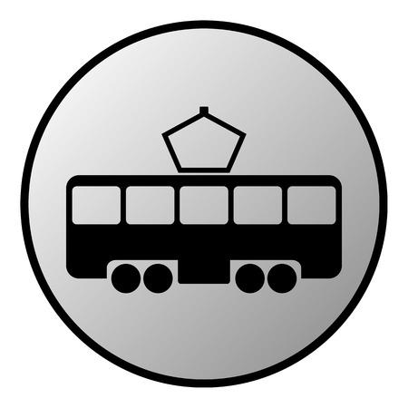 tramway: Pulsante Tram su sfondo bianco. Illustrazione vettoriale.