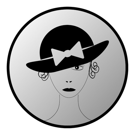 woman wearing hat: Beautiful woman wearing vintage hat button on white background. Vector illustration.