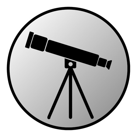 observatory: Telescope button on white background. Vector illustration.
