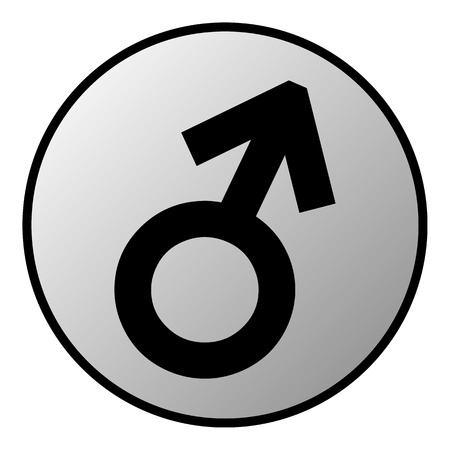 masculinity: Gender male symbol button on white background