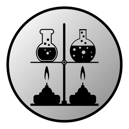 experimenting: Laboratory burner and flask button on white background