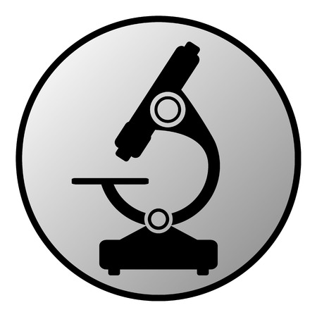biochemical: Microscope button on white background Illustration