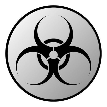 Biohazard sign button on white background. Vector illustration.
