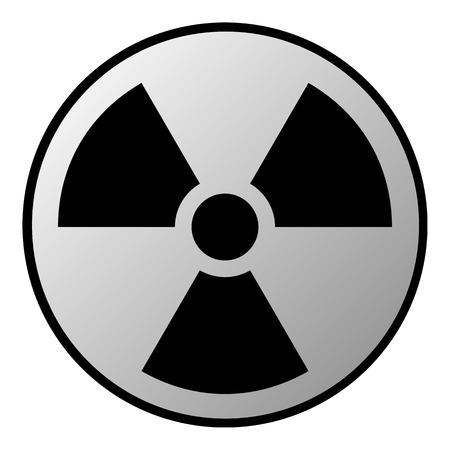 irradiation: Radiation sign button on white background. Vector illustration.