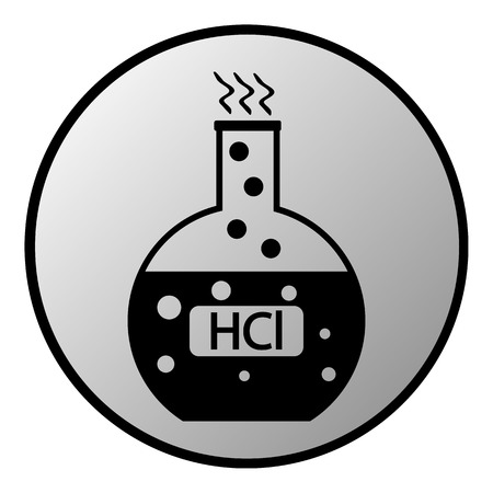 hydrochloric: Laboratory glass with hydrochloric acid button on white background. Vector illustration.