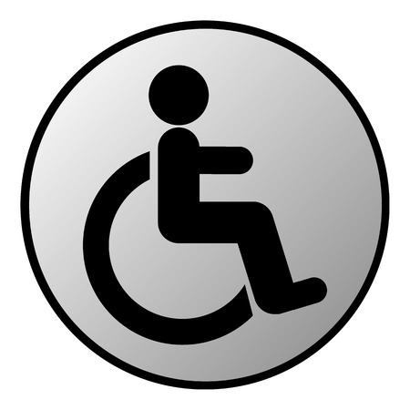 accessible: Disabled sign button on white background. Vector illustration.