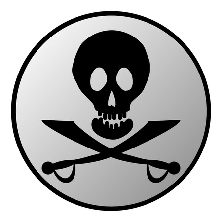 terribly: Jolly Roger sign button on white background. Vector illustration.