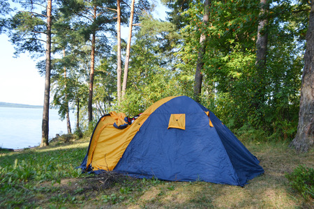 isthmus: Camping tent in forest, the Karelian Isthmus, Leningrad region, Russia. Stock Photo