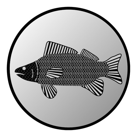 crucian: Fish button on white background. Vector illustration.