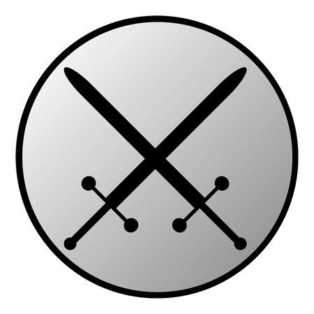 longsword: Crossed swords button on white background. Vector illustration.