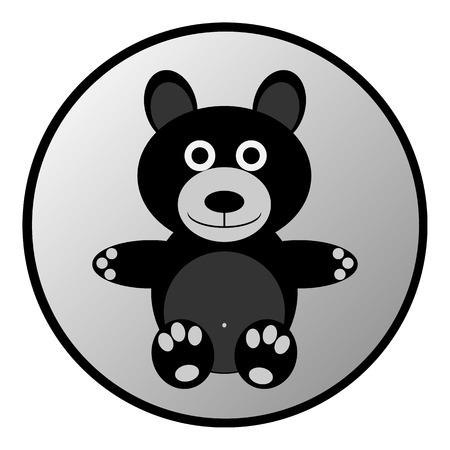 huggable: Bear button on white background. Vector illustration.