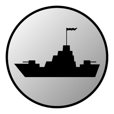warship: Warship button on white background. Vector illustration.