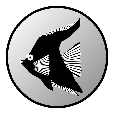 fishy: Tropic fish button on white background. Vector illustration.