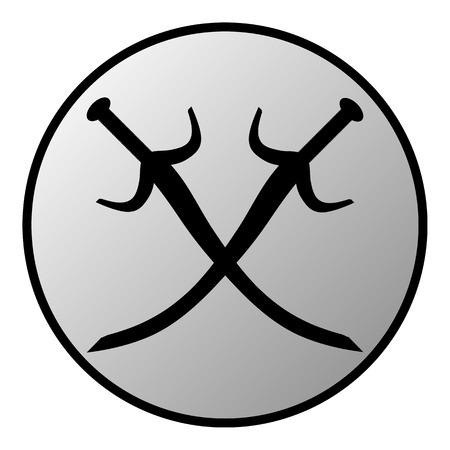 crossed swords: Bot�n espadas cruzadas sobre fondo blanco.