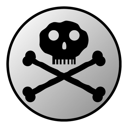 toxicant: Skull and bones danger sign button on white background.