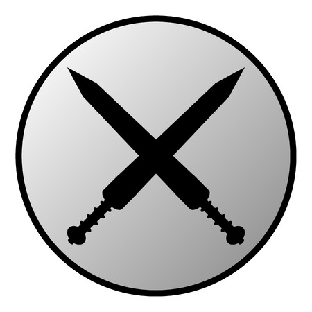 Crossed gladius swords button on white background. Vector illustration. Vector