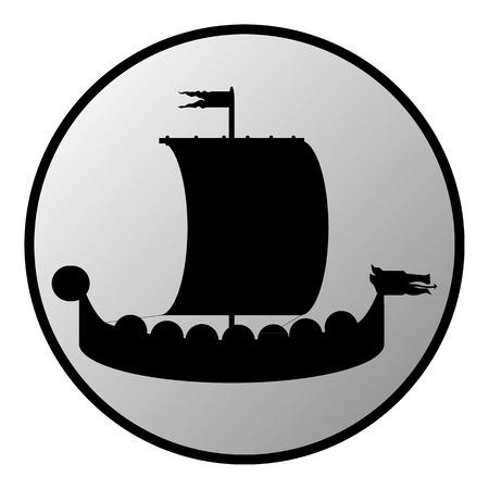 Drakkar button on white background. Vector illustration. Vector