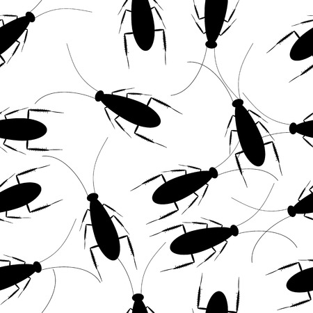 disturbing: Cockroaches on white seamless pattern. Vector illustration. Illustration