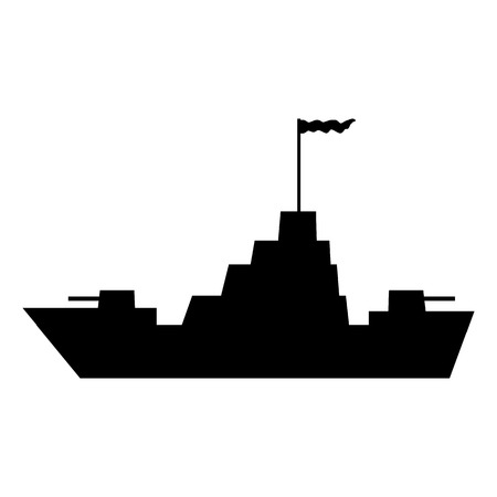 the destroyer: Warship icon on white background. Vector illustration.
