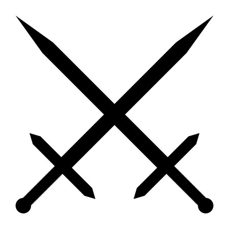 longsword: Crossed swords icon on white background. Vector illustration.
