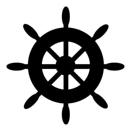 Steering wheel icon on white background. Vector illustration.