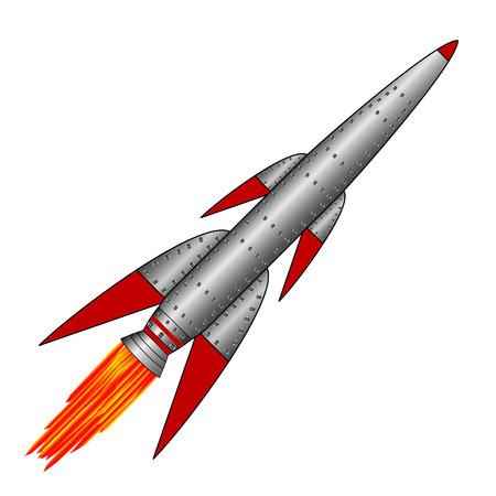 ballistic missile: Military rocket icon on white background.