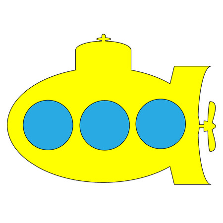 Yellow submarine icon on white background. Vector