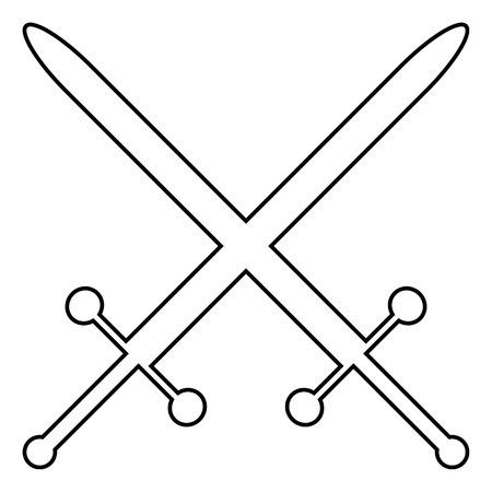 crossed swords: Icono cruzado espadas sobre fondo blanco.
