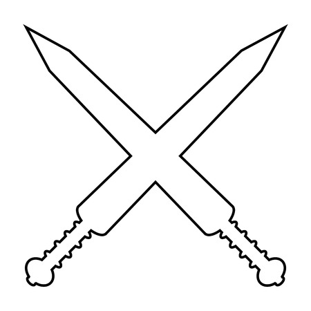 Crossed gladius swords icon on white background. Vector illustration. Vector