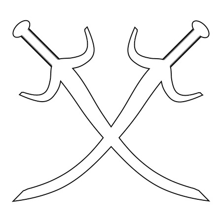 Crossed swords icon on white background. Vector illustration. Vector